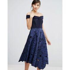 Coast Valerie Bardot Top Midi Dress (£200) ❤ liked on Polyvore featuring dresses, blue, calf length dresses, blue midi dress, midi dress, zipper dress and blue zipper dress