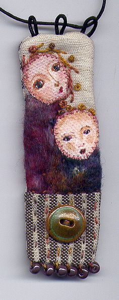 Little Lady with Child textile art pendant - Sara Lechner Textile Jewelry, Fabric Jewelry, Textile Art, Jewelry Art, Jewellery Box, Beaded Embroidery, Embroidery Stitches, Hand Embroidery, Textiles