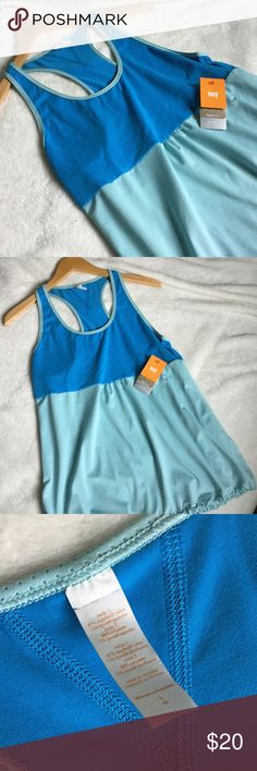 Lucy yoga tank NWT Great workout tank from Lucy. Drawstring at bottom of shirt that can be used to give you a more fitted style. Shirt is blue and aqua. NWT. Lucy Tops Tank Tops