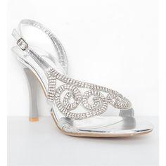 Silver Swirl Rhinestone Heels ($35) found on Polyvore