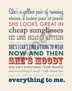 Printable BRAD PAISLEY She's Everything Lyrics by JaydotCreative