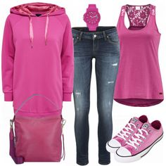 Love the pink top and pink Chuck Taylors for a casual weekend. Not the sweatshirt design looks boxy and not the jeans I'm not a fan of a skinny jean