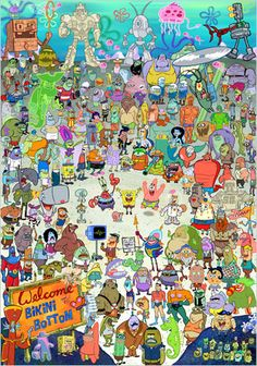 "every spongebob character ever made . Such as the old lady in the wheelchair that says ""chawklette"" Or the whale that was buried in the sand when spongebob ripped his pants and Stanley Squarepants! Cartoon Wallpaper Iphone, Aesthetic Iphone Wallpaper, Disney Wallpaper, Wallpaper Spongebob, Spongebob Background, Memes Spongebob, Spongebob Squarepants, Spongebob Episodes, Desenhos Cartoon Network"