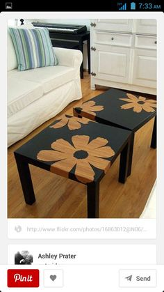 Cheap Target Tables, A Stencil, And Spray Paint. (i Think Ikea Has Ones  Like This Too.) I Like The Idea Of Two End Tables As A Coffee Table