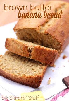 Brown Butter Banana Bread Recipe from SixSistersStuff.com.  Browned butter gives this banana bread an amazing flavor! #recipes #bread #sixsistersstuff