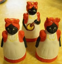 RARE Collectible Aunt Jemima Ceramic Salt Pepper Shakers & Toothpick Holder...i remember these!