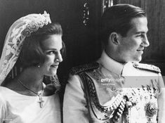 King Constantine of Greece and Princess Anne Marie on their wedding day, at Athens Orthodox Cathedral, September (Photo by Central Press/Hulton Archive/Getty Images) Greek Royal Family, Danish Royal Family, Princess Sophia, Princess Anne, Principe William Y Kate, Prince Paul, King George Ii, Prince Michael Of Kent, Spanish Wedding