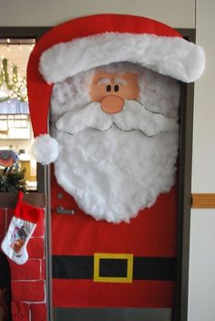 Christmas classroom decorations, Teachers can create a Santa classroom door display using construction paper and cotton balls Office Christmas, Christmas Humor, Christmas Fun, Holiday Fun, Christmas Kitchen, Beautiful Christmas, Christmas Lights, Christmas Door Decorating Contest, Christmas Decorations