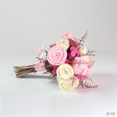 Pink Felt Rose Bouquet - LOT 450 - Wedding bouquet for the bride, bridesmaid or flower girl