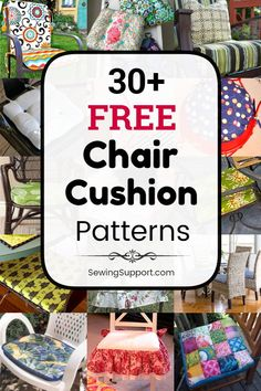 free chair cushion & cover sewing patterns, tutorials, and diy projects to sew for your kitchen and dining chairs, outdoor furniture and more. Instructions for how to make your own chair cushions. Sewing Hacks, Sewing Crafts, Sewing Projects, Sewing Ideas, Diy Projects, Sewing Tips, Garden Chair Cushions, Slipcovers For Chairs, Dining Chairs