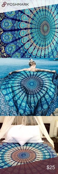 "Gorgeous Boho Chic Throw Mandela Tapestry This is brand new made of 100% Cotton Sizes: 53""x80"" inches (135cm x 203cm) Asian/Oriental/indian mandala  These richly-woven colors and enchanting designs, gives this tapestry add a splash of wonder to your everyday life. These are completely screen printed in traditional way.  Can be used for: Bed Cover, Tapestry, Wall Art, table cloth. Twin/Full size bedspread; picnic sheet; Beach blanket, sarong, DRY CLEAN OR HAND WASH COLD ONLY. Accessories…"