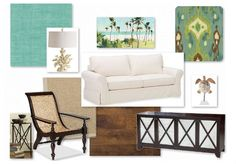 Casual tropical decor - Note rich woods, rattan, textures. This palette is pretty neutral.