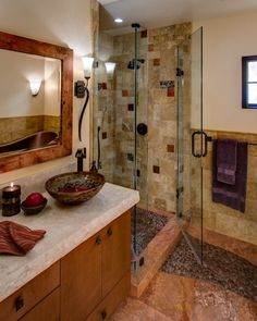 Stunning Rustic Bathroom Design Ideas and Photos - Zillow Digs Tiny Bathrooms, Rustic Bathrooms, Small Bathroom, Modern Bathrooms, Master Bathroom, Diy Rustic Decor, Rustic Design, Pebble Tile Shower Floor, Mediterranean Bathroom