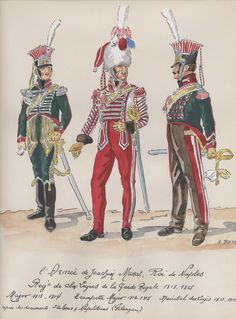 Naples; Garde Royale, Chevau-Legers Regiment, Major 1813-14, Trumpet-Major, 1814-15 & Marechal des Logis, 1813-15 by H.Boisselier