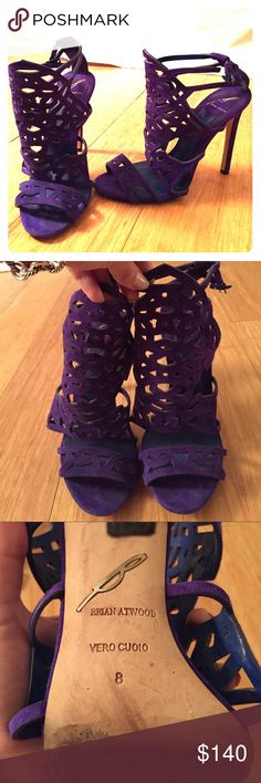 Gorgeous Purple Brian Atwood Heels! Beautiful purple Lazer Cut caged Heels to spice up any outfit! Size 8. Brian Atwood Shoes Heels