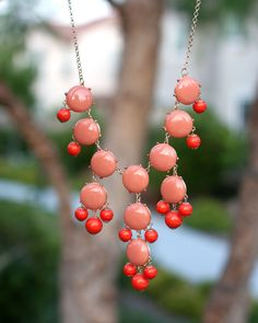 J. Crew Inspired Bubble Necklace Coral Bib Statement Necklace. $19.00, via Etsy.