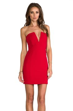 Nookie Rubix V-Front Bustier Dress in Cherry Red from REVOLVEclothing