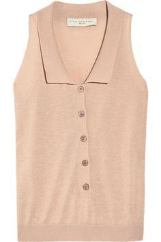 Stella McCartney  Fine-knit cotton sleeveless polo shirt