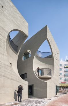 Architecture firm Moon Hoon have recently completed Two Moon, a private cultural… Architecture firm Moon Hoon have recently completed Two Moon, a private cultural center with a coffee shop and gallery, located in Gyeonggi-do, Korea. Architecture Design, Cultural Architecture, Organic Architecture, Futuristic Architecture, Beautiful Architecture, Contemporary Architecture, Landscape Architecture, Creative Architecture, Landscape Design