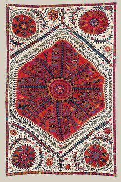 Bukhara Large Medallion embroidered Suzani, Uzbekistan, 18th century