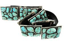 Stunning Showy Navajo Gil Adeky Sterling Silver Turquoise Big Big Cluster Belt
