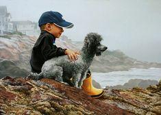 TOM SIERAK ~ boy & poodle on the rocky shoreline