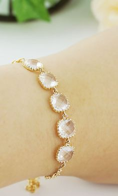 Clear glass bridal bracelet in gold tone from EarringsNation