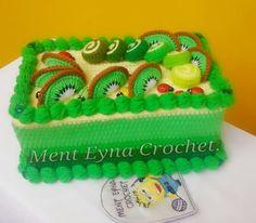 Crochet tissue box cover.. Kiwi