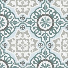Retro Vintage, Vintage Dior, Floor Patterns, Tile Patterns, Bathroom Flooring, Kitchen Flooring, Kitchen Tiles, Victorian Tiles, Teal Flowers