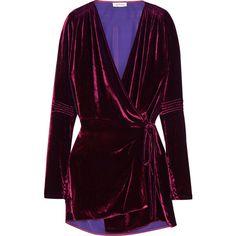 Attico Crushed-velvet wrap mini dress (2.841.920 COP) ❤ liked on Polyvore featuring dresses, attico, grape, purple smocked dress, smock dress, purple wrap dress, smocked dresses and wrap tie dress