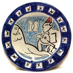 """FRANCO ROGNONI (1913-1999) NUDO DIPINTO A MANO SU PIATTO IN CERAMICA 52cm (1/60) ☲☲☲☲☲☲☲☲☲☲☲☲☲☲☲☲☲☲☲☲ NUDE """"Hand Painted"""" ON CERAMIC PLATE"""