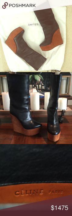 """Celine black wedge boots EXCELLENT Pre-Owned Condition:  ~ CELINE Paris ~  MADE IN ITALY DESIGNER:  CELINE PARIS SHOE SIZE:  7.5, 37.5 STYLE:  HIGH FASHION DESIGNER LEATHER PLATFORM WEDGE BOOTS COLOR:  BLACK, CAMEL BROWN MATERIAL: SUPPLE BLACK LEATHER  ON/OFF:  1/2"""" LEATHER PULL TAB FOR EASY PULL ON/OFF APPROXIMATE BOOT MEASUREMENTS:  9-1/2"""" FROM TOP OF HEEL TO TOP OF BOOT, CIRCUMFERENCE 12.5-13""""  APPROXIMATE HEEL MEASUREMENTS:  5-1/2"""" HEELS WITH 2"""" Celine Shoes Ankle Boots & Booties"""
