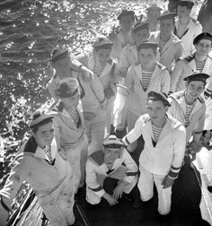 """sailorgil:  """" French Sailors"""" … The Breton stripe shirt was first introduced in 1858 as the uniform for all French navy seaman in Northern France. The original design featured 21 stripes, one for each of Napoleon Bonaparte's victories and the distinctive stripes made it easier to spot wayward sailors who had fallen overboard.Photo: Gaston Paris/Roger Viollet/Getty ImagesRead more: http://stylecaster.com/breton-stripe/#ixzz3coUGB8o6"""