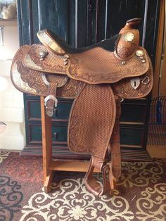 """Billy Cook Show Saddle. 15.5"""" seat. Full-QH Bars. $2000. OBO # 94-2623 at Spokane Tack Trunk."""