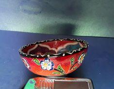 Vintage Art Ceramic Hand Painted Glazed CUP Decor Handmade bowl floral ornament #MidCenturyModern