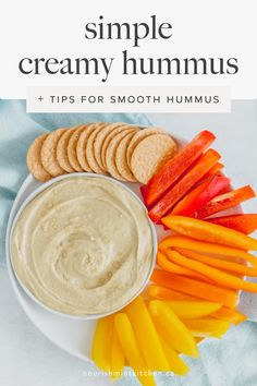 This simple creamy hummus is loaded with drippy tahini and made extra tasty by using aquafaba to make it smooth and light. Made with just a few simple ingredients, this is a great snack full of plant-based protein! Dairy Free Appetizers, Dairy Free Snacks, Vegan Snacks, Appetizers For Party, Whole Food Recipes, Snack Recipes, Free Recipes, Easy Recipes, Quick Snacks