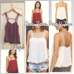 Strappy Free People Top in Purple Beautiful dusty purple flowy Free People tank top with grey straps and grey crochet lace trim. An easy fit top with a sexy edge. Brand new with original tags! Retails for $48. Size S, would also fit a M. Free People Tops