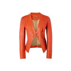Tangerine orange leather jacket from Richards Radcliffe featuring a waterfall front, dipped front hem and a multi stitch cuff detailing.
