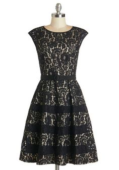 Renowned Romance Dress - Black, Tan / Cream, Cutout, Lace, Belted, Special Occasion, Fit & Flare, Cap Sleeves, Woven, Better, Scoop, Mid-len...