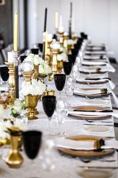 Classic Elegant Gold, Black & White Wedding {Nikki Meyer Photography}