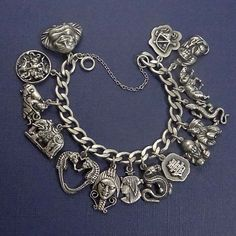 Vintage Carl Schon Sterling Silver Chinese Theme PLUS Charm Bracelet