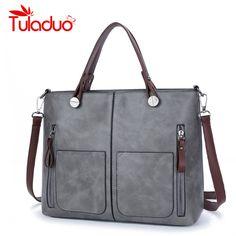 3f07dddd994f TuLaduo Brand Vintage Lady Handbag Women Designer Shoulder Bags PU Leather  Double Pocket Zipper Bags Casual