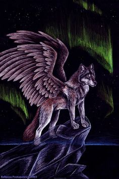 Cool Purple Wolves | Winged Wolf by = psychedeliczen