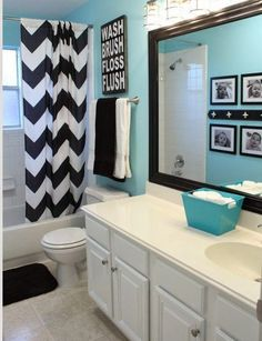 White, Black And Turquoise Bathroom Makeover On { . White, black and turquoise bathroom makeover on { lillunacom black and white bathroom decor - Bathroom Decoration Bathroom Kids, Bathroom Wall, Kids Bath, Bathroom Colors, Bathroom Theme Ideas, Bathroom Inspiration, Bathroom Storage, Bathroom Cabinets, Master Bathroom