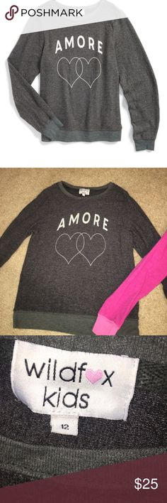 Wildfox Amore Girls Sweatshirt Super soft and light enough for multi season use. Rubbed cuffs and hem. In good pre-loved condition. Wildfox Shirts & Tops Sweatshirts & Hoodies