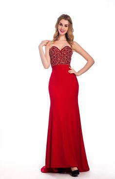 Long Strapless Sweetheart Neck Red Chiffon Sexy Prom Dress