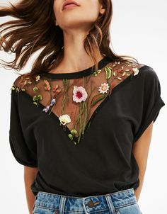 Floral Embroidered T-Shirt. Discover this and many more items in Bershka with new products every week