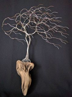Astonishing wall hanging wire tree mounted to NW driftwood with Sapphire Gold beads is 17 inches tall 12 inches wide. Sculpture #170209 by TotallyTwistedTrees on Etsy