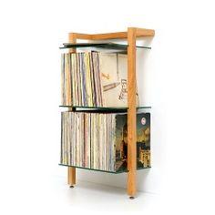 1 QUADRA Holz Schallplattenregal Kirschbaum 3 Glasböden