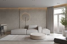 Dans cette grande pièce de vie lumineuse, le tadelakt clair orne les murs pour y apporter de l'originalité et de la douceur. Il s'accorde à un canapé modulable blanc et une petite table basse ronde. Washroom Design, Bathroom Interior Design, Exterior Design, Interior And Exterior, Bedroom Closet Design, Tadelakt, Loft Design, Aesthetic Bedroom, Modern Wall